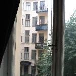 A view of the apartment courtyard