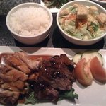 chicken and beef teriyaki with rice and side salad