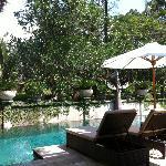 il giardino interno e la piscina