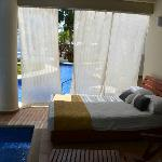 Our room, swim-up with day bed.