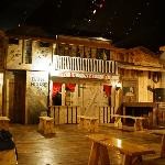 Upstairs dining area and mock western town