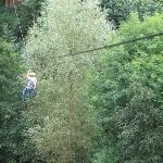 The zip line with me weighing it down