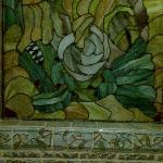 Stained glass window in the bathroom made by the owner
