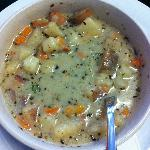 Potato soup with vegetables & German sausage - delicious!