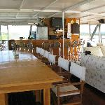 Bar/lounge and dining area of the houseboat