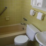 If you can see it, notice the white grout around the tub. I was impresses with the cleanness.