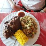 BBQ plate with rice and corn! Baked beans in other photo:D
