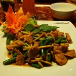 Pork in red currywith long bean and sweet basil