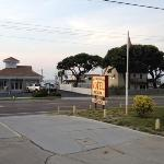 The entrance from the vantage point of the motel.