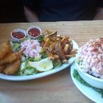 The medium shrimp plate and the small shrimp salad