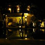 Inner garden and swimming pool in the night