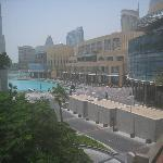 View of Dubai Mall and Fountain area from conecting bridge