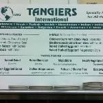 Tangiers Menu