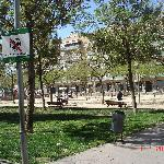 the nearby square with terraces and swings