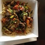 Grilled Vegetables over linguini