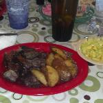 Beef Ribs (off the bone) and this pic is after i had eaten some if it!! Large amount and good!!