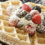 Belgium waffle with fresh fruit