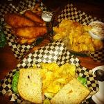 Fish & Chips, Clam Dip & Chips, Roast Beef Sandwich