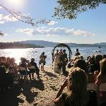 The Wedding Ceremony on the Inn's Private Beach on Newfound Lake