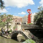 View of Riverwalk Vista (red brick building) across the Riverwalk.  Perfect Location
