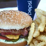 Bacon Burger, Fries and a Pepsi