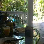 Breakfast (which is free) on my own veranda