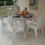 Petit-déjeuner sur la terrasse