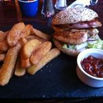 chicken, bacon an Stilton burger with chips and relish