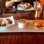 Tuscan grilled cheese, spicy sweet potato soup, Greek salad