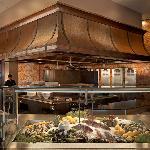 deep blu seafood grille's exhibition kitchen