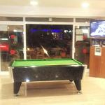 Pool table and Sky TV in the bar