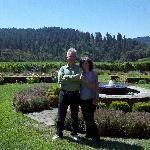 Fountain, redwoods, us (and wine)