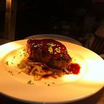 pork with cabbage and red wine jus