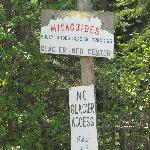 Sign for the entrance to Mica Guides next to the highway