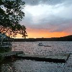 Sunset view from the dock of Lakeside Terrace