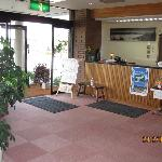 Hotel entrance and reception desk