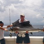 sail fish caught on the boat on vacation in mexico
