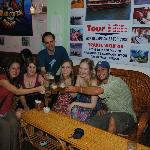 Friends we met and travelled with throughout Vietnam enjoying the free beer
