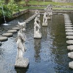 Stepping stones and statues in the largest pond