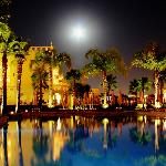 Moon over one of the hotel's pools