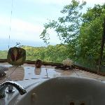 View from the jacuzzi in the bathroom of the suite
