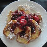 French Toast Breakfast with berries sauce