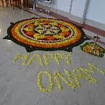 Onam decoration in hotel lobby