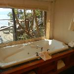 The spa tub overlooking the ocean in our tent suite