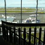 View as we walked down the stairs from our room. Small airport located behind the hotel