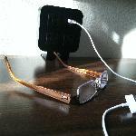 Hampton Inn Boston Peabody Desk with USB charging & USB plugs/adapters (glasses are mine!)