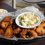 Delicious fried sweet plantains (on the right) - a must-try.