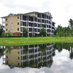 Our building from across the lake
