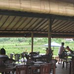 table and chairs of warung telaga lay out
