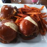 trifecta burger sliders with sweet potato fries